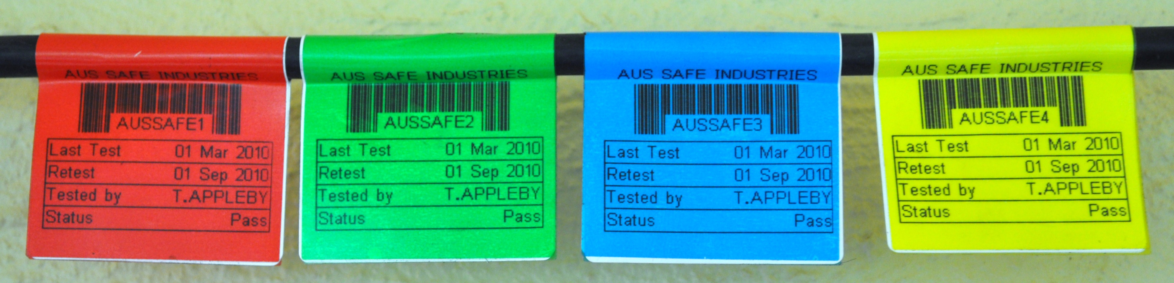 Australian Safety Industries coloured tags